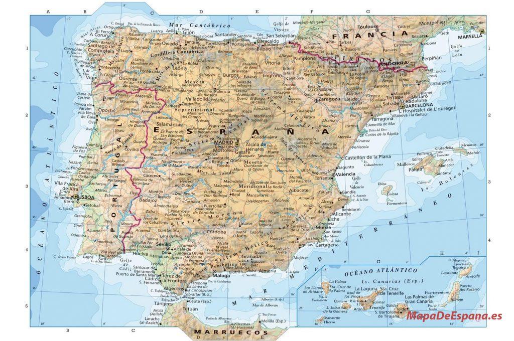 Mapa España topografico