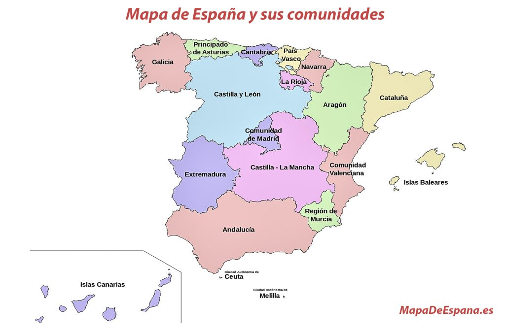 Mapa de las comunidades de España