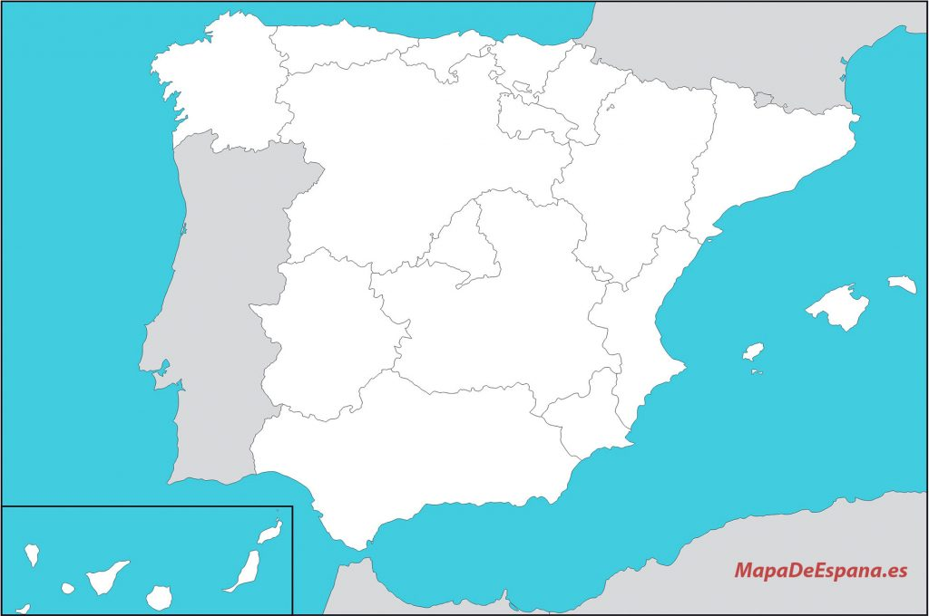 mapa espana politico sin  nombres