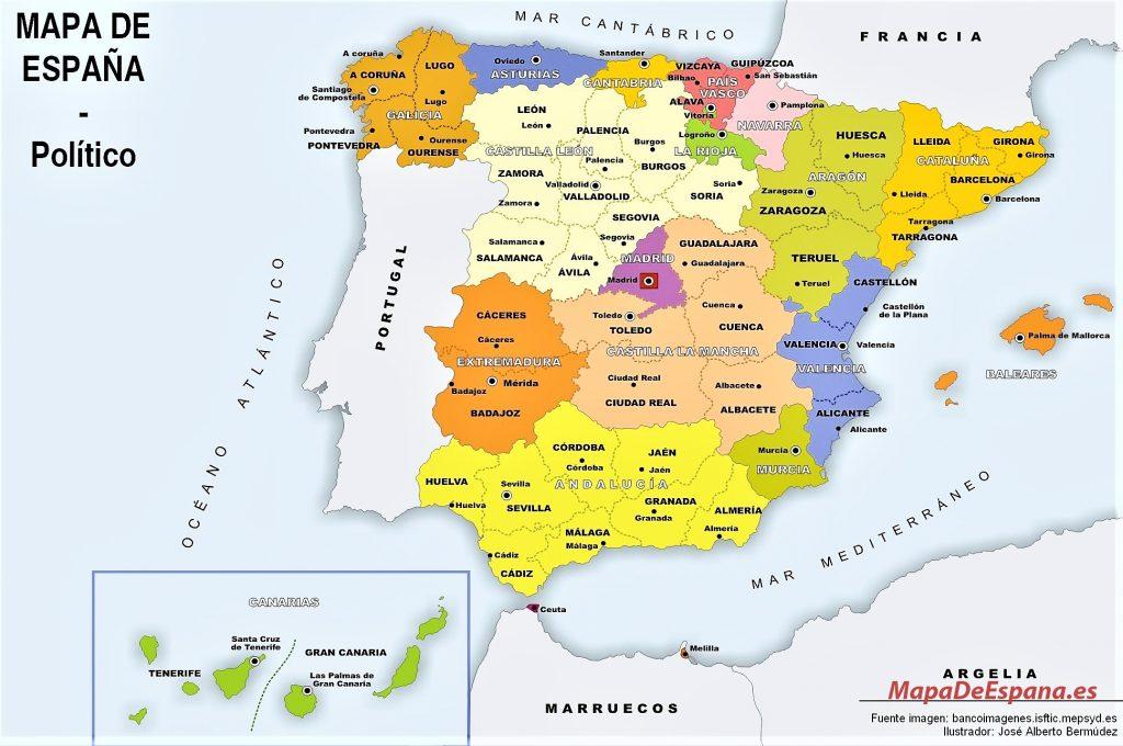 mapa de españa político para imprimir